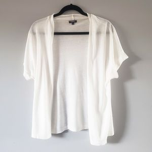 Women's White Short Sleeve Open Cardigan Sweater